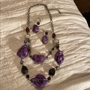Purple Stone and Beads Necklace With Earrings